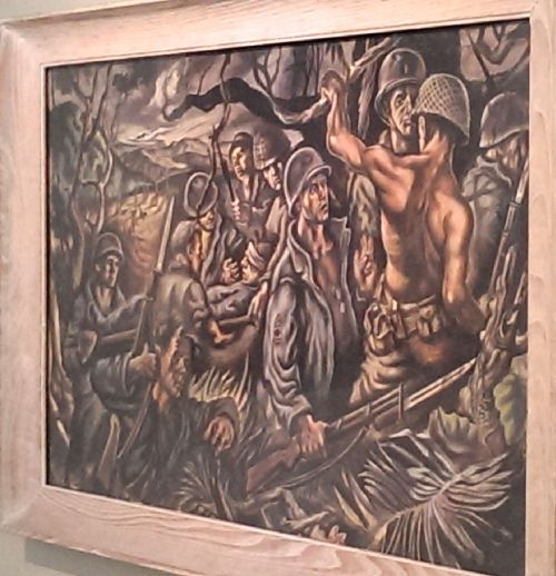 Soldiers in New Guinea by Jack Keljo Steele, 1945.  Troops beat their way through the thick bush to bring a wounded comrade to safety.